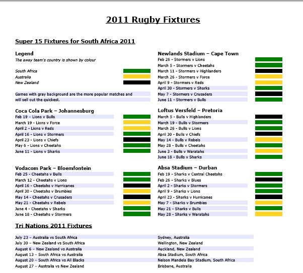 2011 Rugby Fixtures