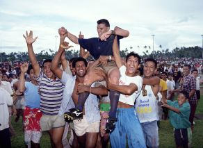 Darren Kellett of Manu Samoa is hoisted onto the shoulders of his fans after a Super 10 rugby union match, 1993. Photo: Andrew Cornaga/PHOTOSPORT