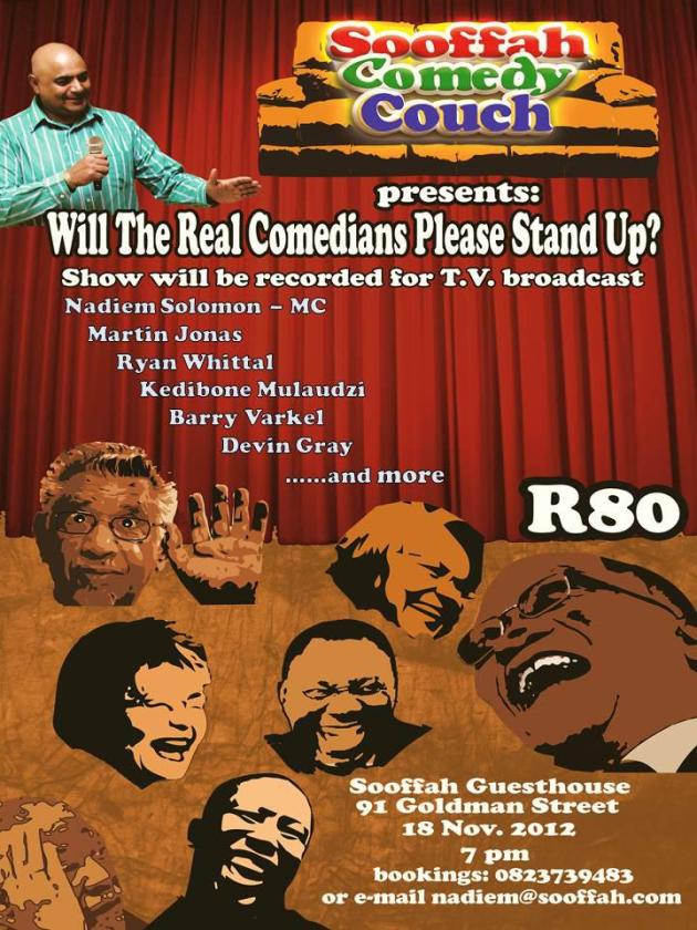 Barry Varkel for JHB comedy show on 18 Nov - worth going to see