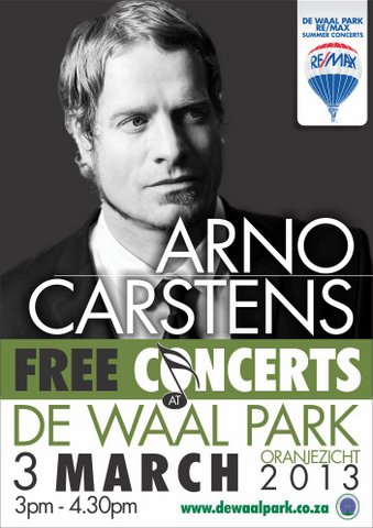 Arno Carstens for De Waal Park -Sunday 3rd March from 3pm - 4.30PM -Free
